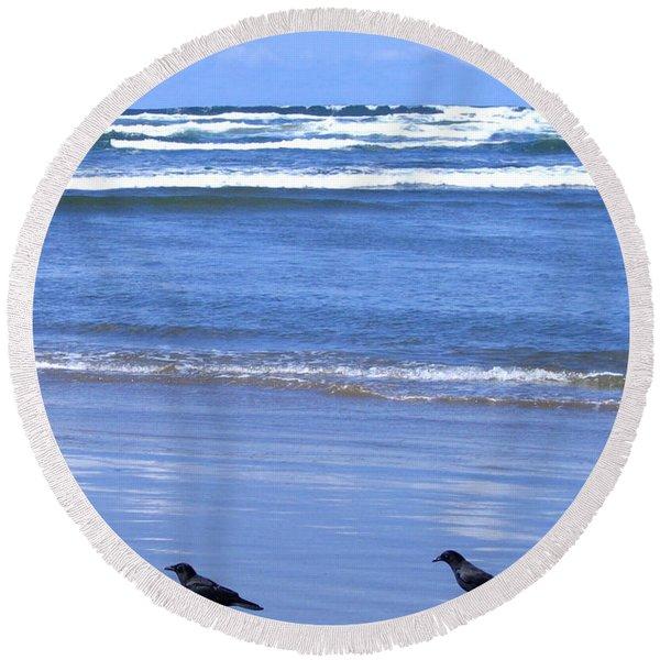 Companion Crows Round Beach Towel
