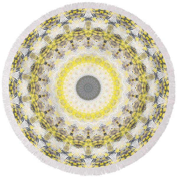 Concrete And Yellow Mandala- Abstract Art By Linda Woods Round Beach Towel