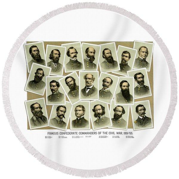 Confederate Commanders Of The Civil War Round Beach Towel