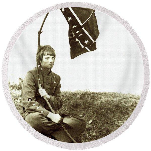 Confederate Soldier Round Beach Towel