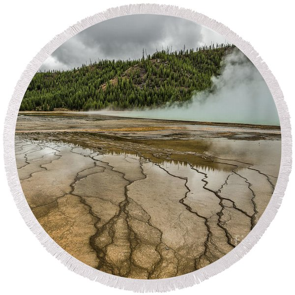 Contrasts At Midway Geyser Basin Round Beach Towel