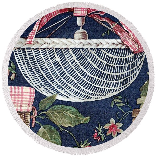 Round Beach Towel featuring the drawing Country Basket by Writermore Arts