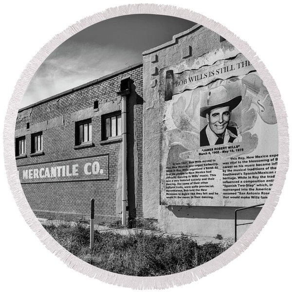 Round Beach Towel featuring the photograph Country Legend Bob Wills In Roy New Mexico by Mary Lee Dereske