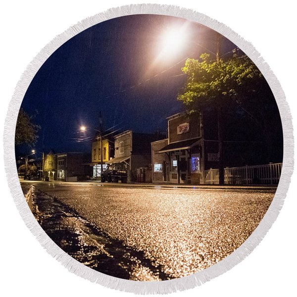 Round Beach Towel featuring the photograph Coupeville On A Rainy Night by Mary Lee Dereske