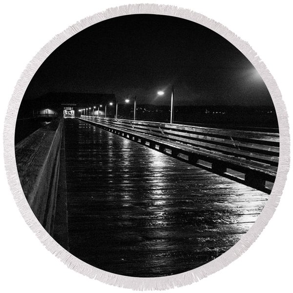 Round Beach Towel featuring the photograph Coupeville Wharf On A Rainy Night by Mary Lee Dereske