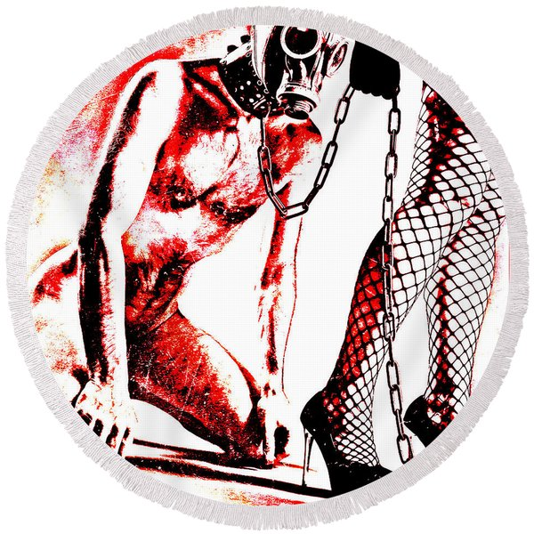 Couple Nude In Bdsm Play And Image Finished In Digital Dots Art  Round Beach Towel