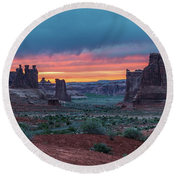 Courthouse Towers Arches National Park Round Beach Towel