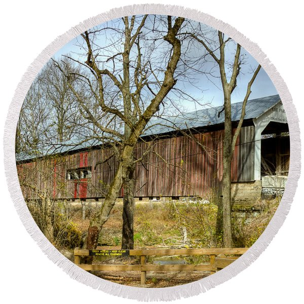 Cox Ford Covered Bridge Round Beach Towel