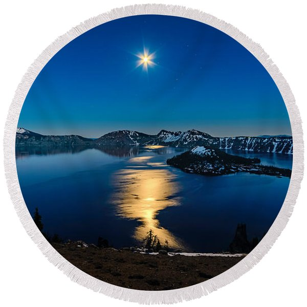 Crater Lake Moonlight Round Beach Towel