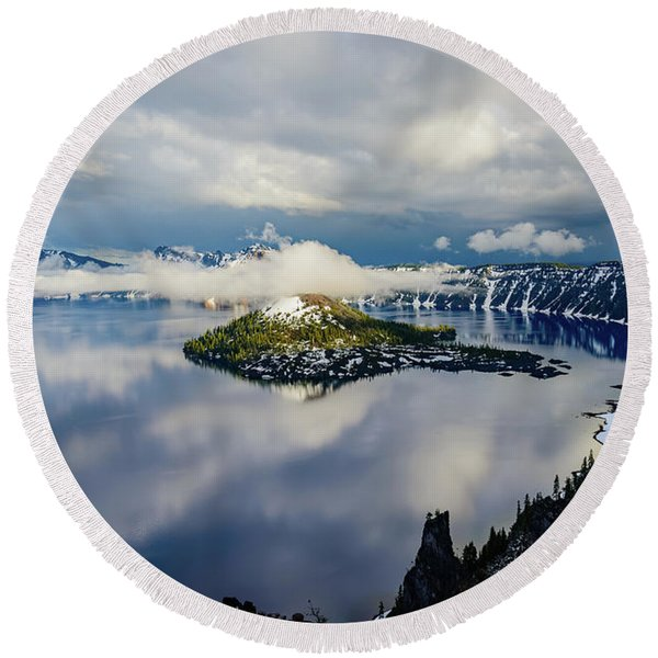 Crater Lake Storm Round Beach Towel