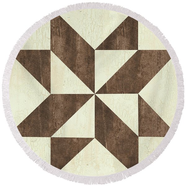 Cream And Brown Quilt Round Beach Towel