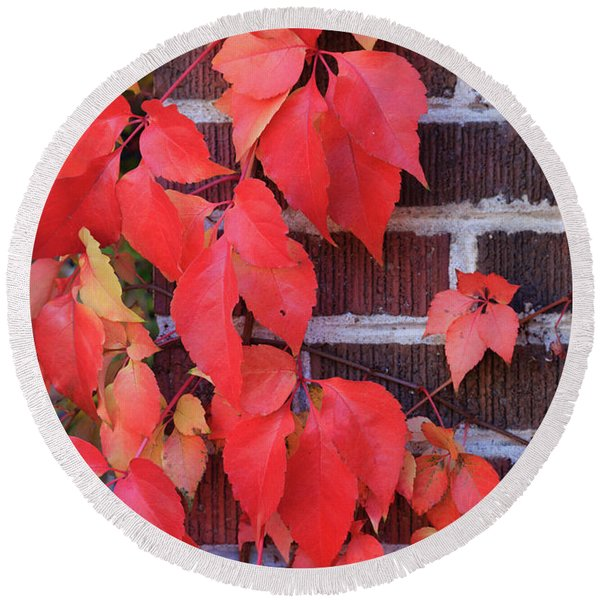 Crimson Leaves Round Beach Towel