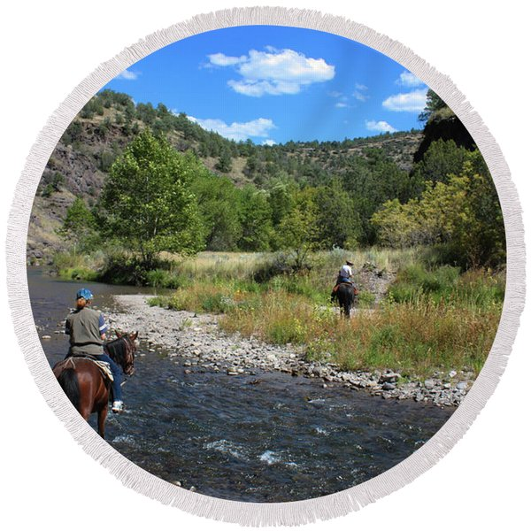 Round Beach Towel featuring the photograph Crossing The Gila On Horseback by Lon Dittrick