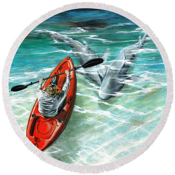 Cruising The Channel Round Beach Towel