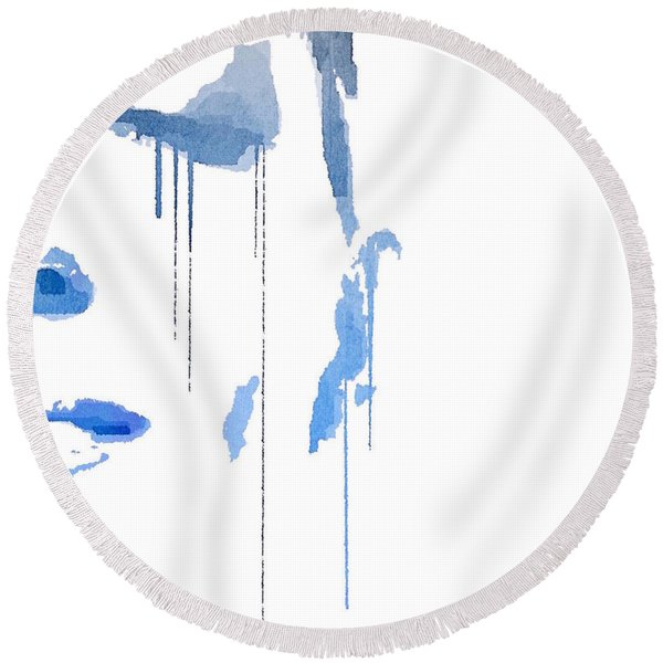 Crying In Pain Round Beach Towel