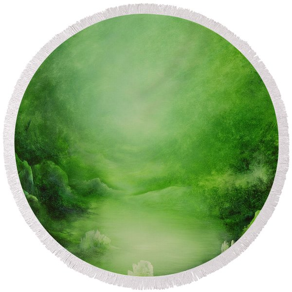 Crystal Forest Round Beach Towel
