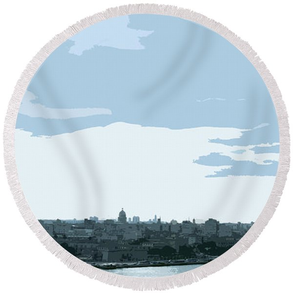 Cuba City And Skyline Art Ed2 Round Beach Towel