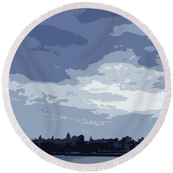 Cuba City And Skyline Art Ed4 Round Beach Towel