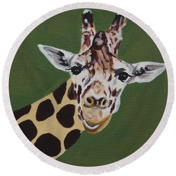 Curious Giraffe Round Beach Towel