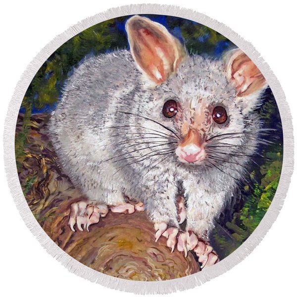 Curious Possum  Round Beach Towel