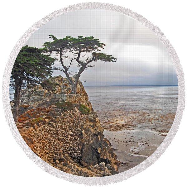 Cypress Tree At Pebble Beach Round Beach Towel