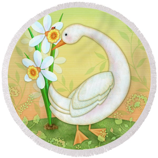 D Is For Duck And Daffodils Round Beach Towel