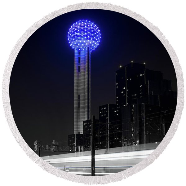 Dallas Reunion Train 061116 V3 Round Beach Towel