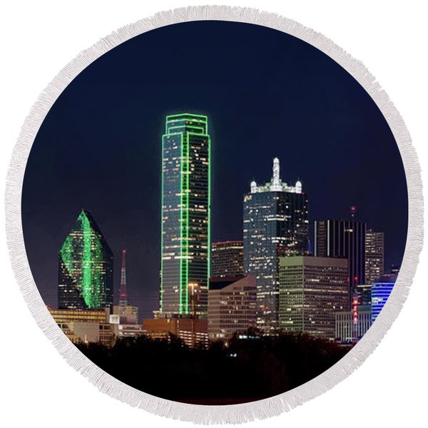 Dallas Skyline 071316 Round Beach Towel