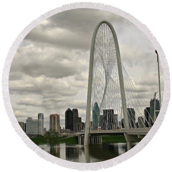 Dallas Suspension Bridge Round Beach Towel