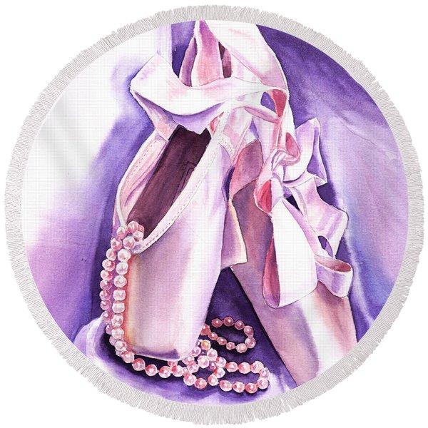 Dancing Pearls Ballet Slippers  Round Beach Towel