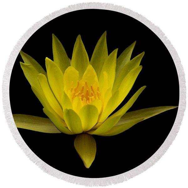Dancing Yellow Lotus Round Beach Towel