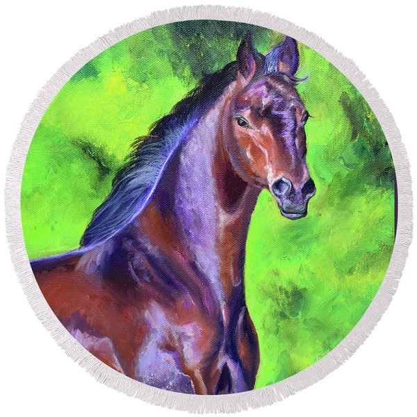 Dark Red Bay Horse Round Beach Towel
