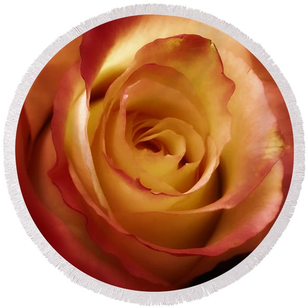 Dark Rose Round Beach Towel