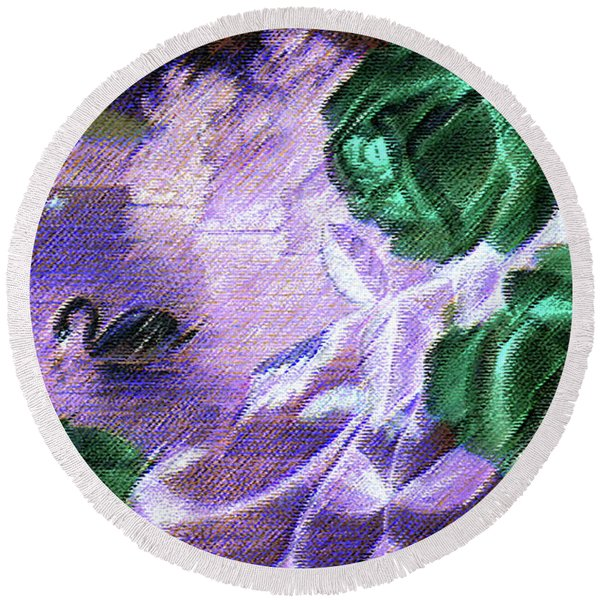 Round Beach Towel featuring the mixed media Dark Swan And Roses by Writermore Arts