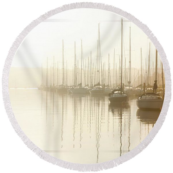Dawn Reflections - Yachts At Anchor On The River Round Beach Towel