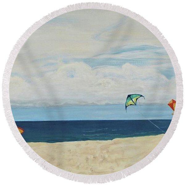 Day On Beach Round Beach Towel