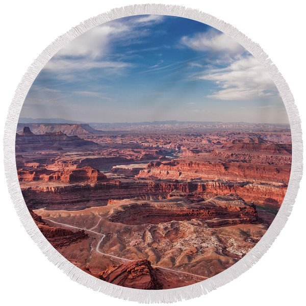 Round Beach Towel featuring the photograph Dead Horse Point Vista by Lon Dittrick
