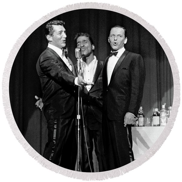 Dean Martin, Sammy Davis Jr. And Frank Sinatra. Round Beach Towel