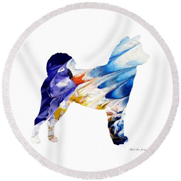 Decorative Husky Abstract O1015c Round Beach Towel