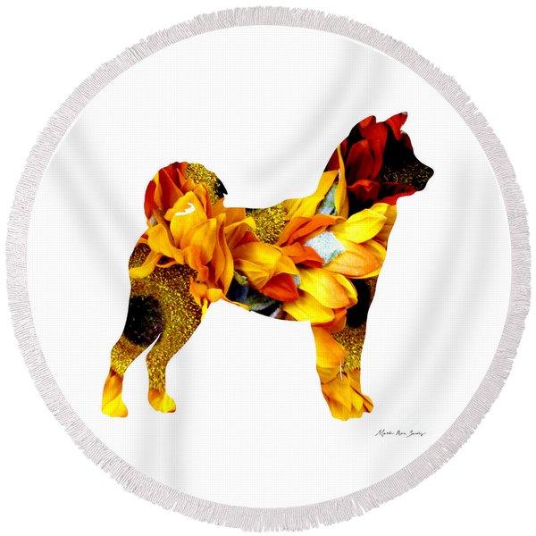 Decorative Husky Abstract O1015g Round Beach Towel