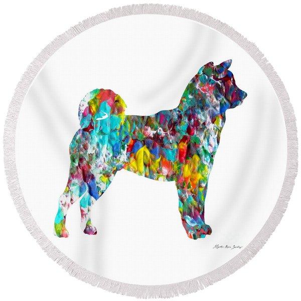 Decorative Husky Abstract O1015h Round Beach Towel