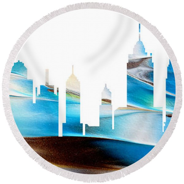 Decorative Skyline Abstract New York P1015a Round Beach Towel
