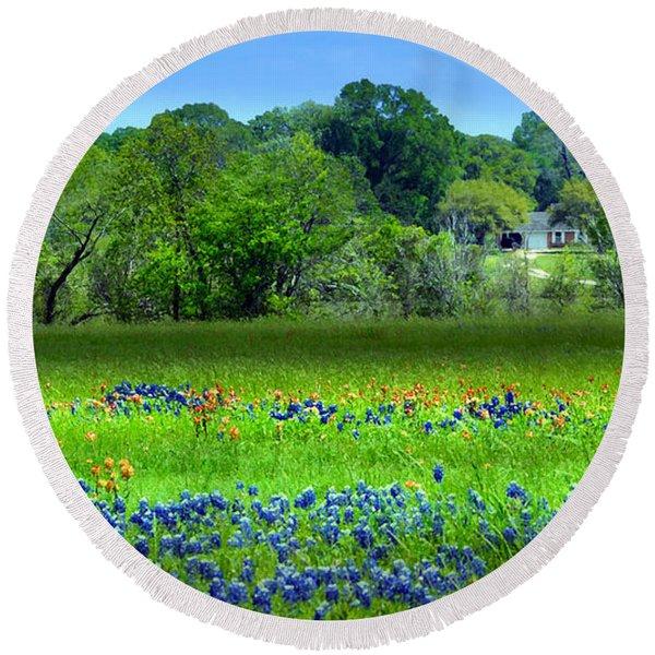 Decorative Texas Homestead Bluebonnets Meadow Mixed Media Photo H32517 Round Beach Towel