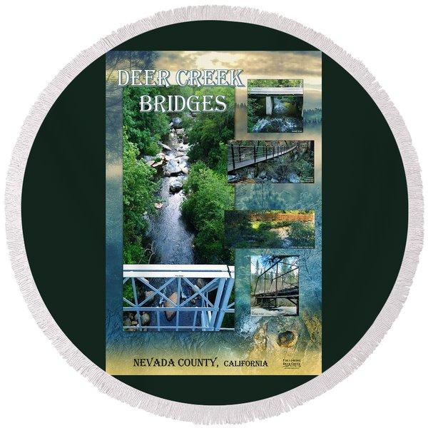 Deer Creek Bridges Round Beach Towel