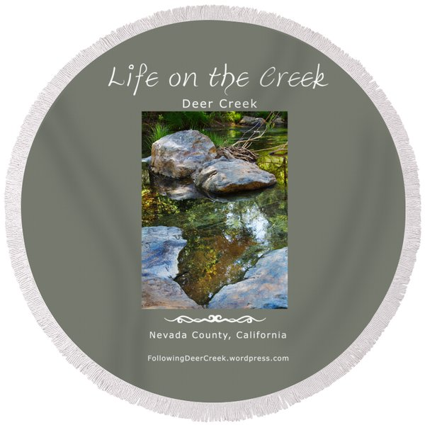 Deer Creek Point - White Text Round Beach Towel