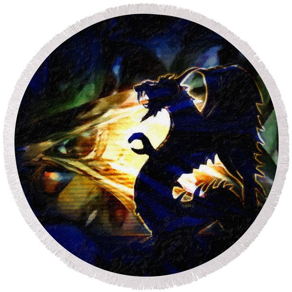 Round Beach Towel featuring the painting Defiance by Gerlinde Keating - Galleria GK Keating Associates Inc
