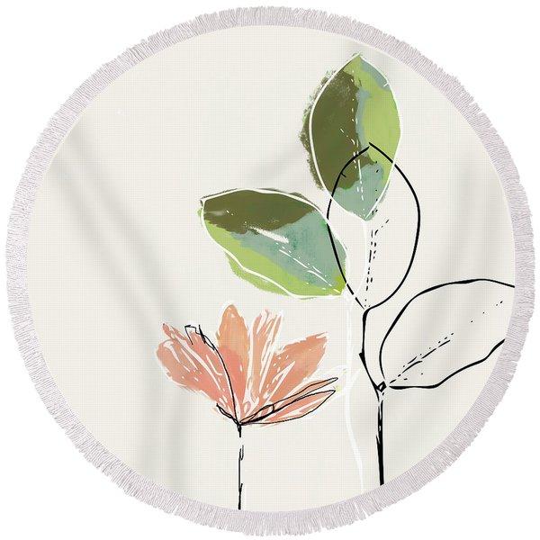 Delicate Flower- Art By Linda Woods Round Beach Towel