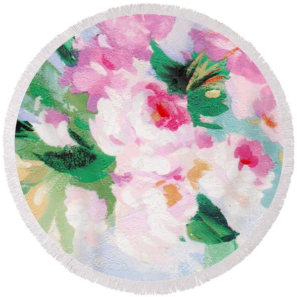 Round Beach Towel featuring the mixed media Delicate by Writermore Arts