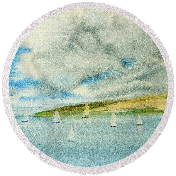 Dark Clouds Threaten Derwent River Sailing Fleet Round Beach Towel