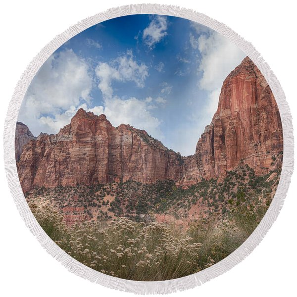 Descent Into Zion Round Beach Towel